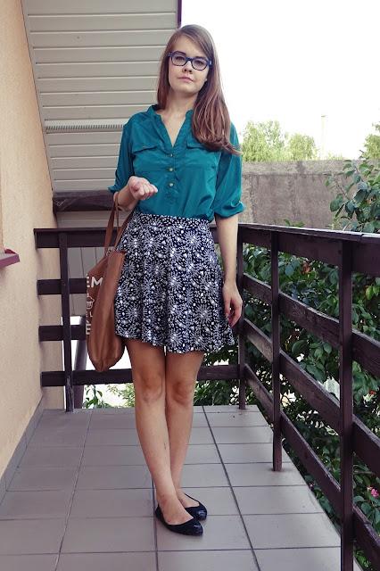 OOTD: szmaragdowa bluzka+ aztecka spódnica :*