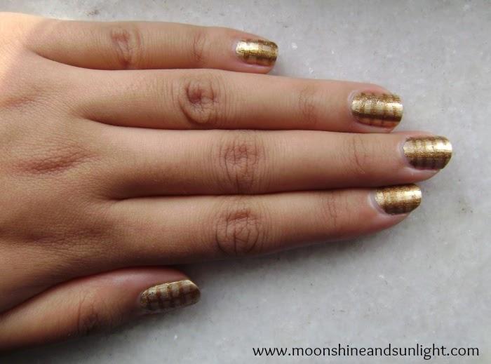 Gold on gold checkered nail art , check nail art , indian nail art blog