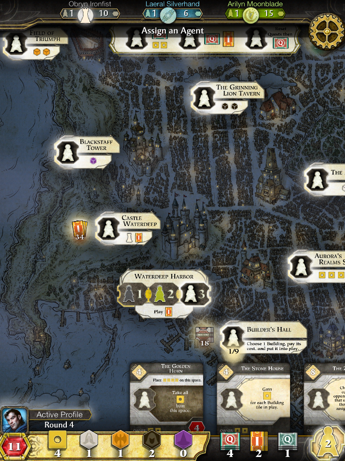 Lords of Waterdeep iPad Boardgame night gameplay