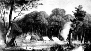 Uno de los campamentos de Leichhardt durante la exploración de Australia