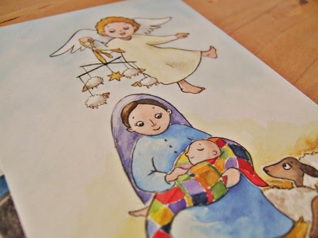 vánoční pohlednice dětská jesličky andílek Ježíšek