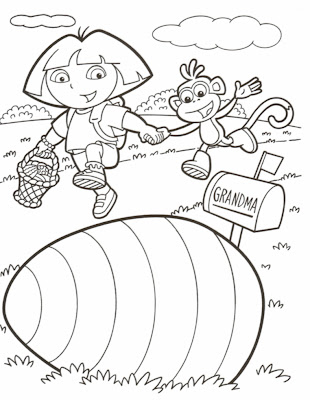 Easter Dora Printable Coloring Page