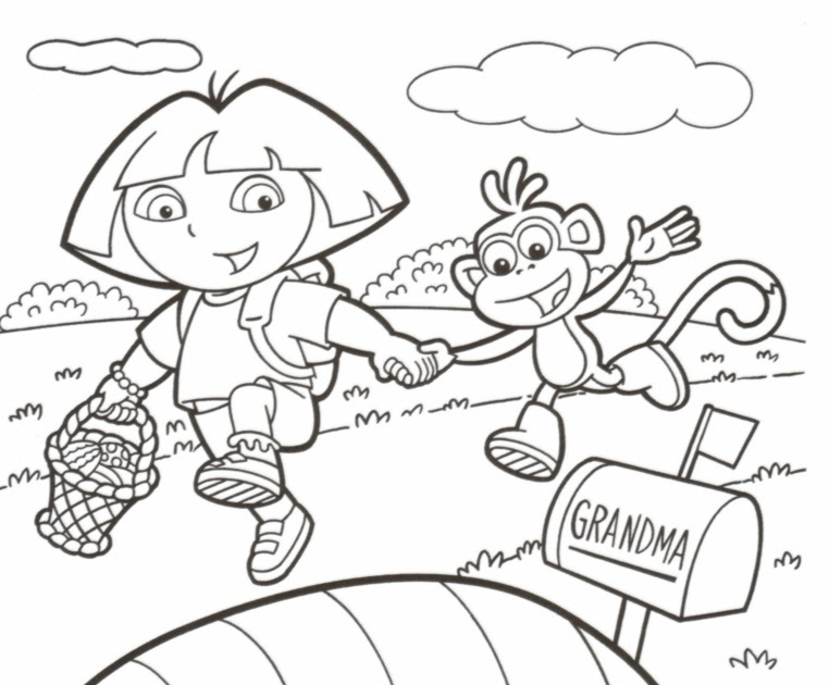 easter coloring pages dora hd image : Dora Boots Easter Colororing page from bonzaipaint.biz size 762 x 630 jpeg 79kB