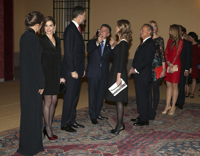 King Felipe VI of Spain and Queen Letizia of Spain attends the official reception of a dinner to Colombian President Juan Manuel Santos and his wife Maria Clemencia Rodriguez held at El Pardo Palace in Madrid,