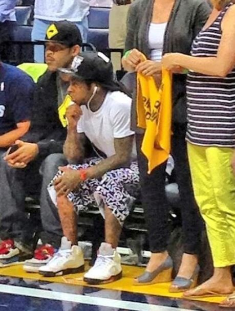 7f4f98876f12 Lil Wayne Wearing Air Jordan 5 Sneakers At The Grizzlie Vs Thunder Game  Today