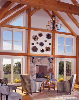 vintage decorated timber frame great room
