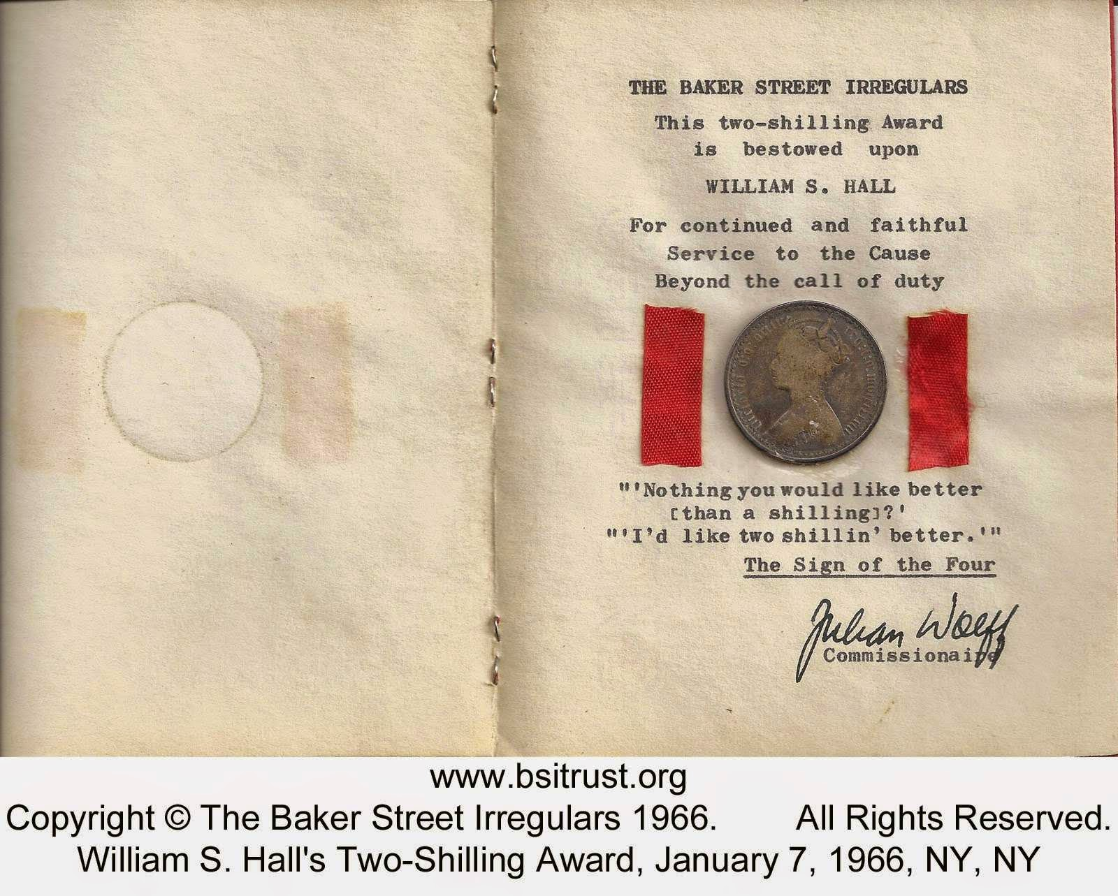 Two-Shilling Award: Baker Street Irregulars 1966