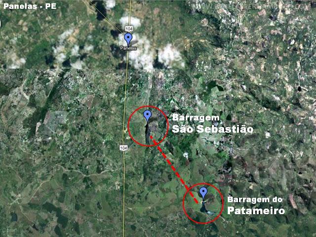 A entubação da barragem Patameiro para a barragem São Sebastião