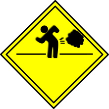 Black On Yellow Fart Warning Sign