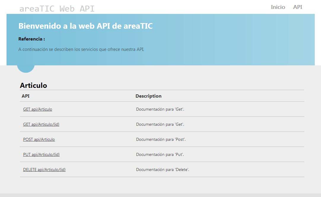 areaTIC, ASP.NET MVC 4.0, Web Api