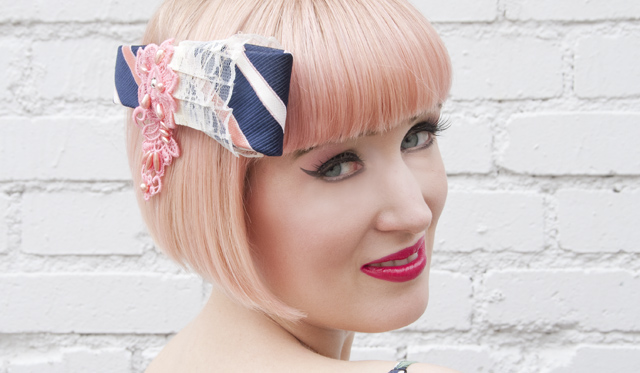 Little Black Swan, fascinator, Made in Japan, pastel pink hair