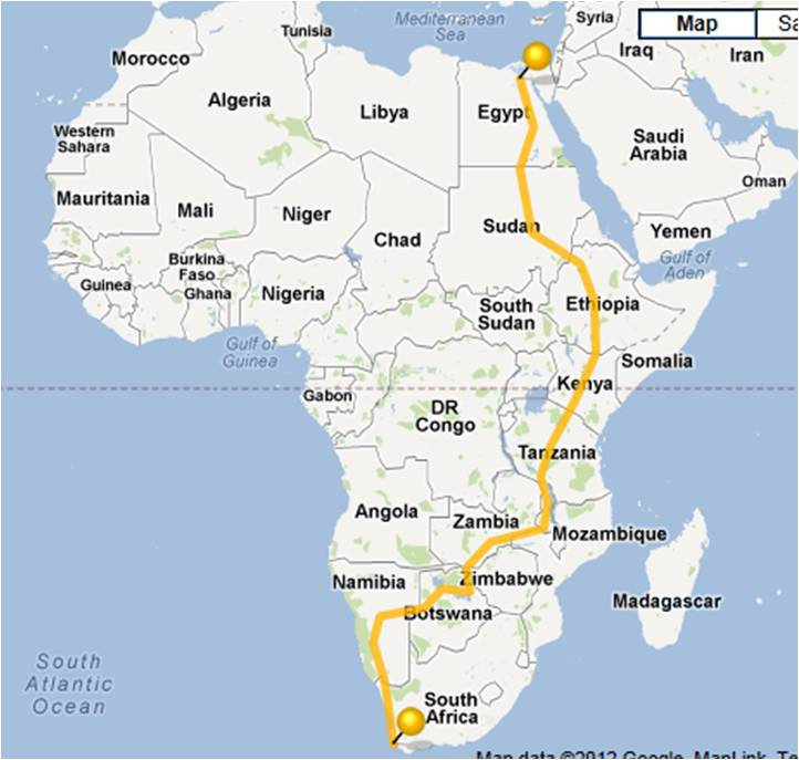 Blazing Saddles 2013 Route from Cairo to