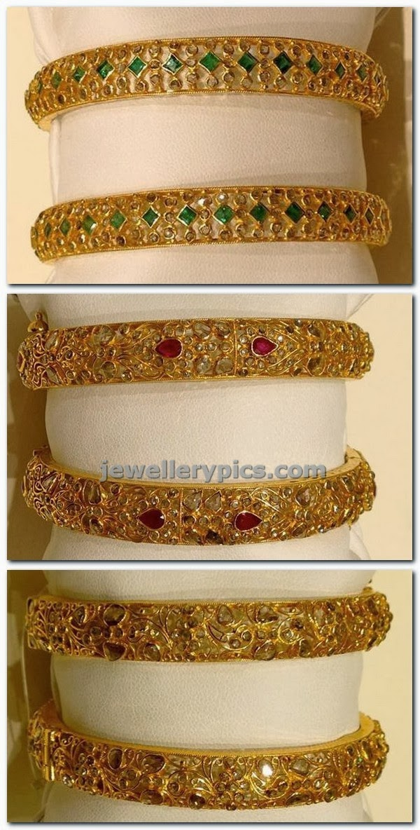 uncut bangles combined with gems like emeralds and rubies from nalli jewellers