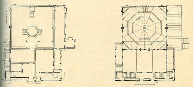 Końskie, Kinsk, Konsk - nieistniejąca bóżnica drewniana z drugiej połowy XVIII. Rys. z książki Marii i Kazimierza Piechotków, Bóżnice drewniane. Po lewej - rzut przyziemia, po prawej - rzut piętra.