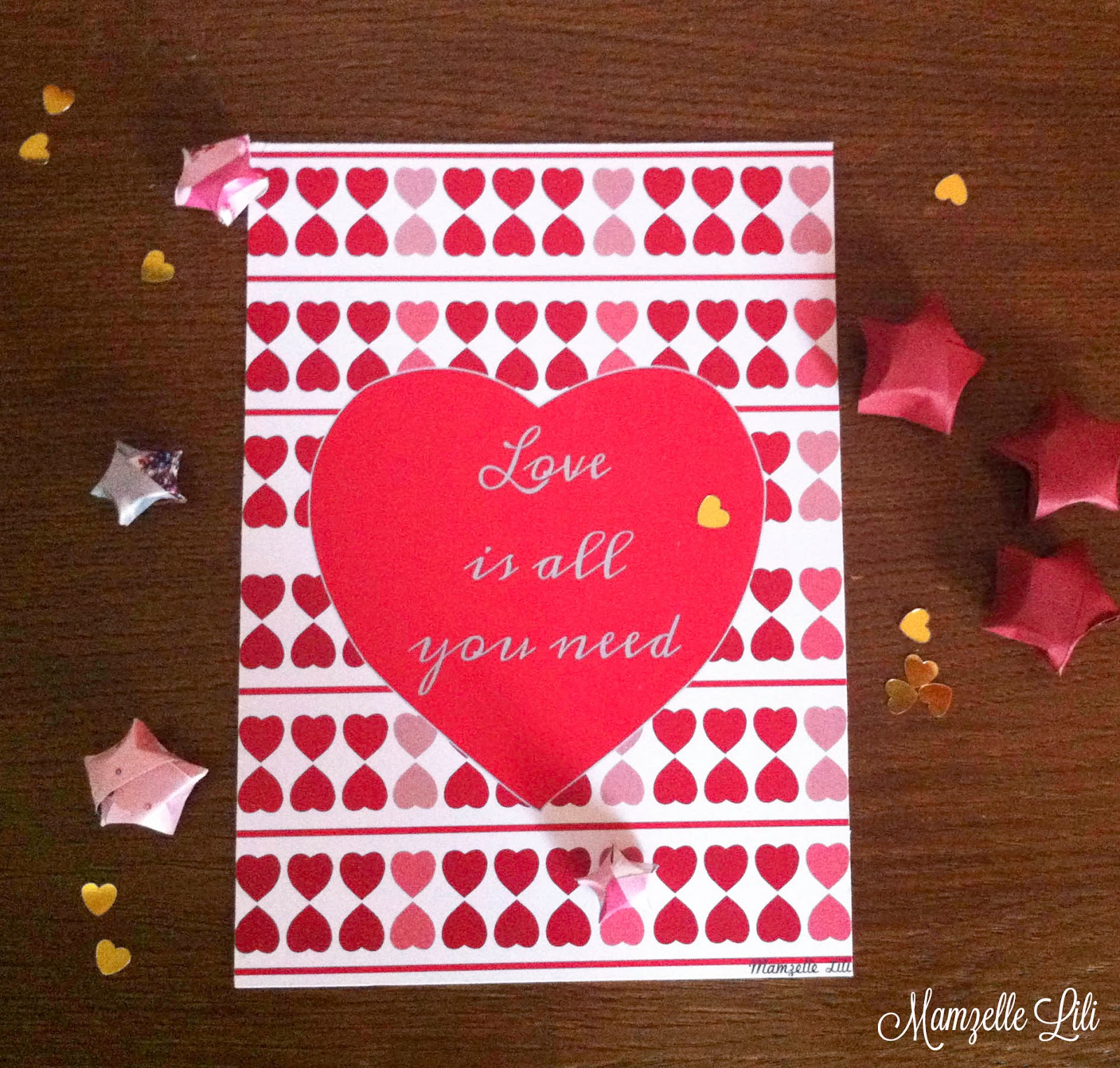 "love cards ""love is all you need""  cartes à imprimer pour dire je t'aime"
