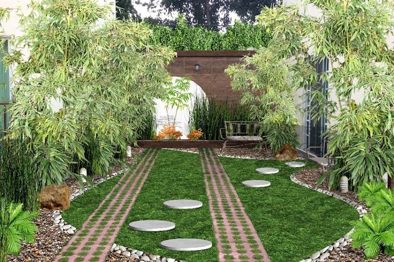 jardin creativo para frente de casa con piedra, bambu, bancas y sendero