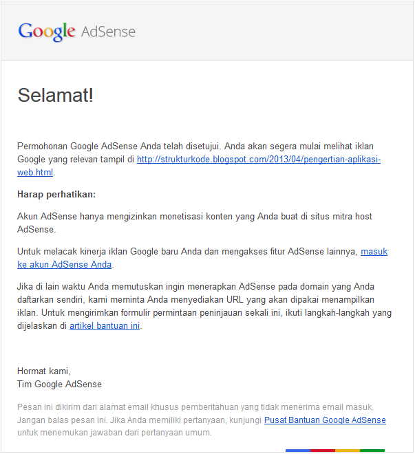 Isi email balasan diapprove google Adsense