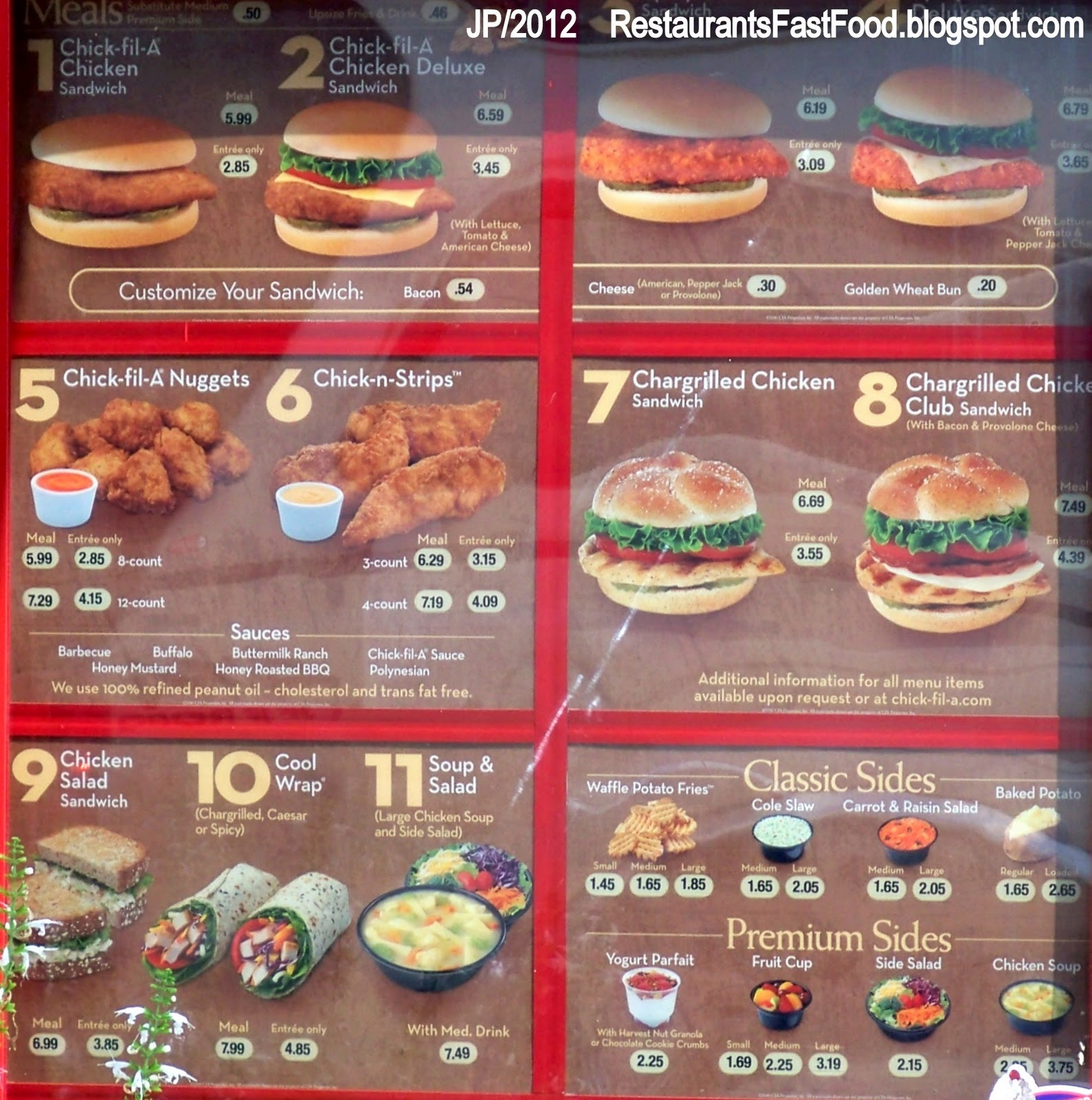 This is a photo of Selective Chickfila Printable Menu