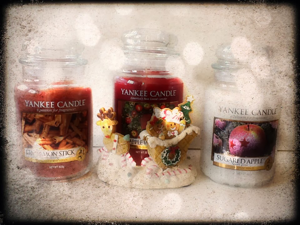 Ginger kids jar hugger, Yankee Candle Cinnamon Stick, Red Apple Wreath & Sugared Apple
