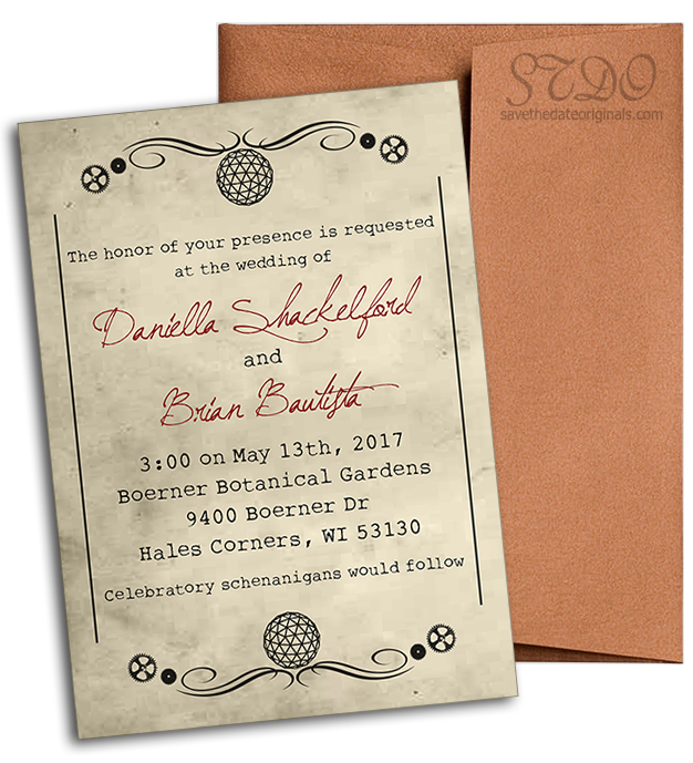 steam punk wedding invitation: gears + copper