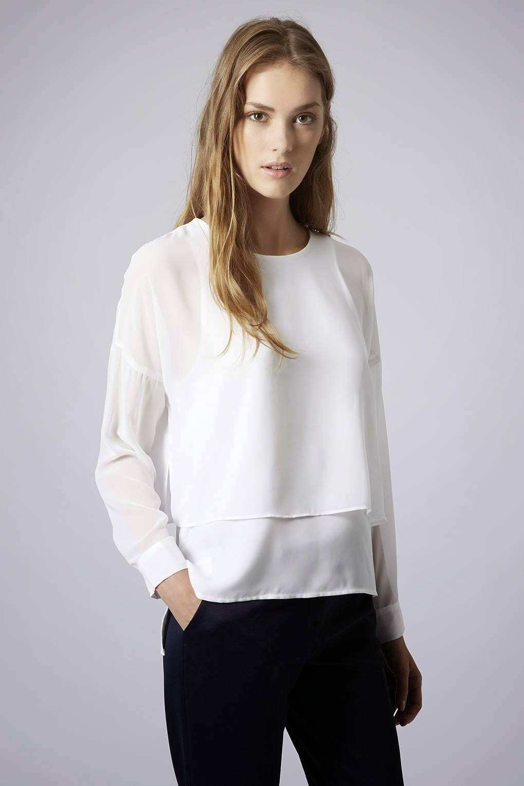 white layered top