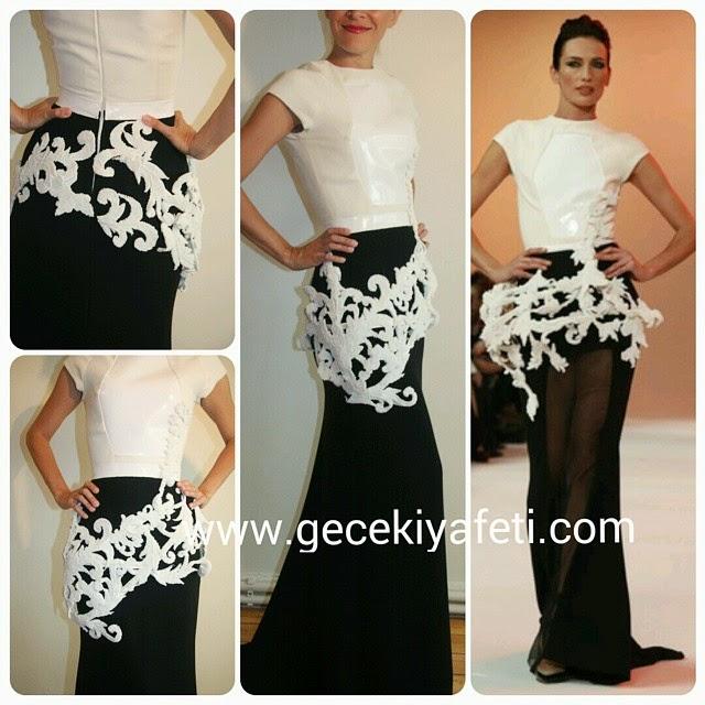 siyah beyaz  gece elbisesi