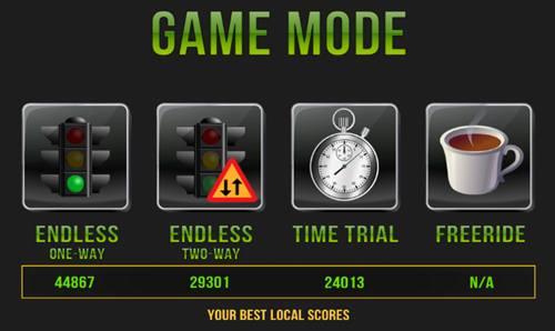 4 Modos do jogo: Endless One-Way, Endless Two-way, Time Trial e Freeride do Jogo Traffic Racer