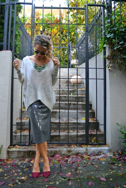 cashmere poncho and pencil skirt