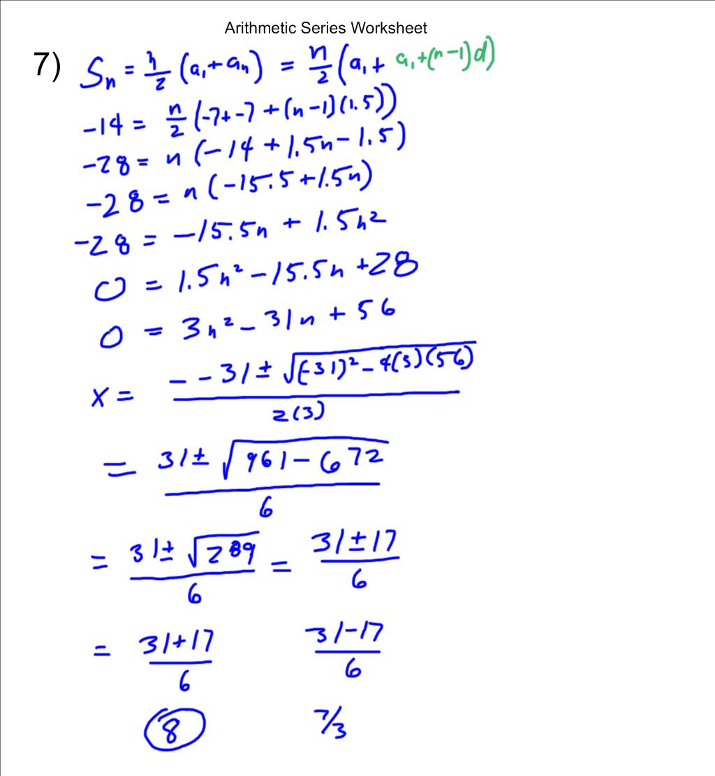 Mr Flanagans Class Arithmetic Series Worksheet – Arithmetic Series Worksheet