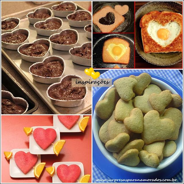 decorando comida com cortador de coração