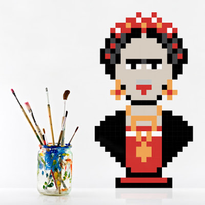 Puxxle,vinilo,pared,pixel,puzzle,decoracion,decoration,cuadrados,square,Frida Kalho