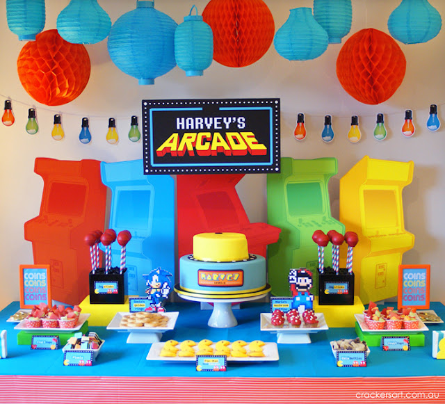 Little big company the blog harvey 39 s arcade party by crackers art you will see a pacman Game decoration