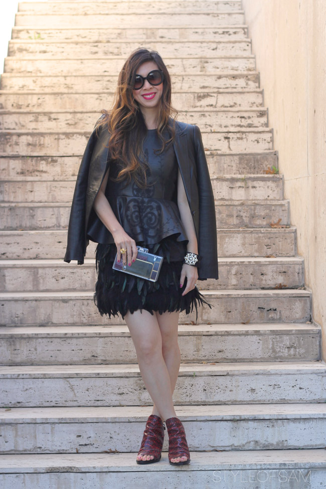 style of sam, elizabeth and james leather blazer, zara pleather peplum top, warehouse feather skirt, balenciaga glove sandals, prada baroque sunglasses, zara lucite clutch, gold flower ring, tom ford aphrodisiac lipstick, valentine's day outfit, forever 21 ribbon and pearl cuff