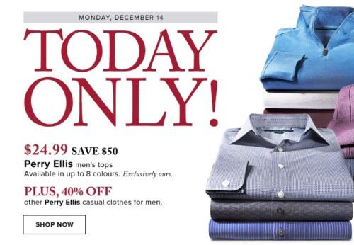 Hudson's Bay Perry Ellis $50 Off Men's Tops + 40% Off Casual Clothes for Men