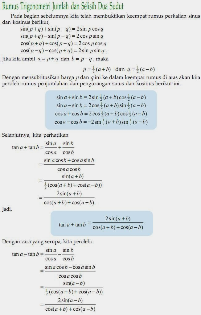 Matematika Di Sma Rumus Trigonometri Jumlah Dan Selisih