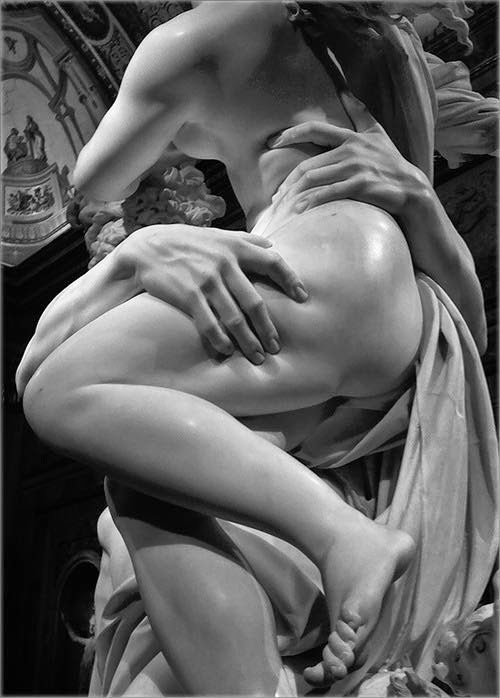 Photograph of part of the sculpture by Bernini depicting The Rape of Proseprina