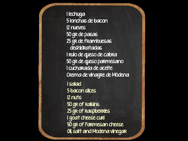 Receta au pair: Ensalada de bacon, nueces y queso de cabra