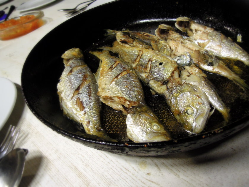 Bluefish that had been caught hours earlier from the Black Sea, pan ...