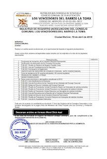 Solicitud de registro del consejo comunal del barrio La Toma