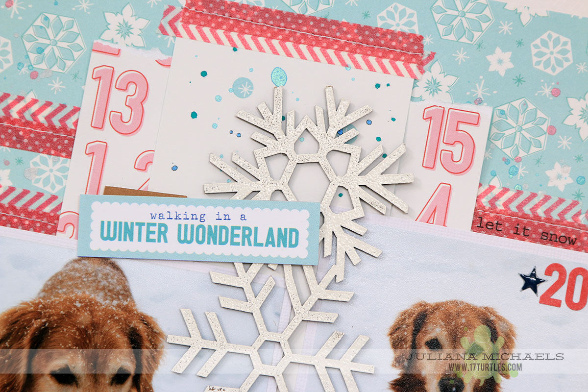 Winter Wonderland Scrapbook Page by Juliana Michaels featuring Leaky Shed Studio Chipboard Snowflake Border Large