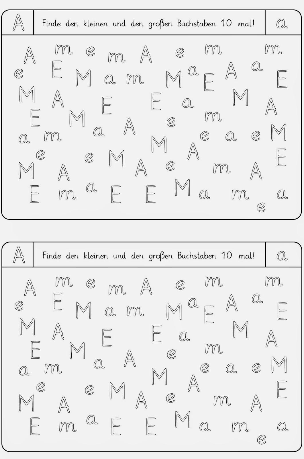 Lernstübchen: Arbeitsblätter zum Erkennen der Buchstaben