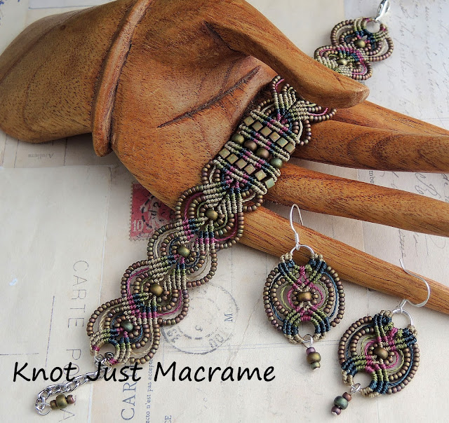 Micro macrame bracelet and earrings in raku colors by Sherri Stokey of Knot Just Macrame