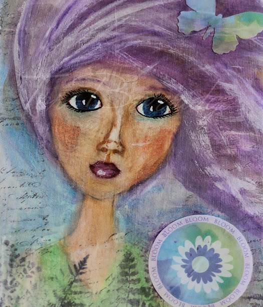Let It Bloom Art Journal Page by Tori Beveridge Girl Close Up