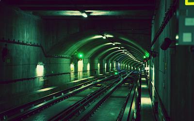 Green subway tunnel 1920 x 1280