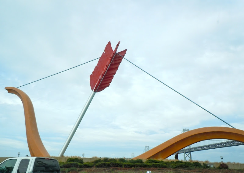 Cupid's Span giant bow and arrow sculpture