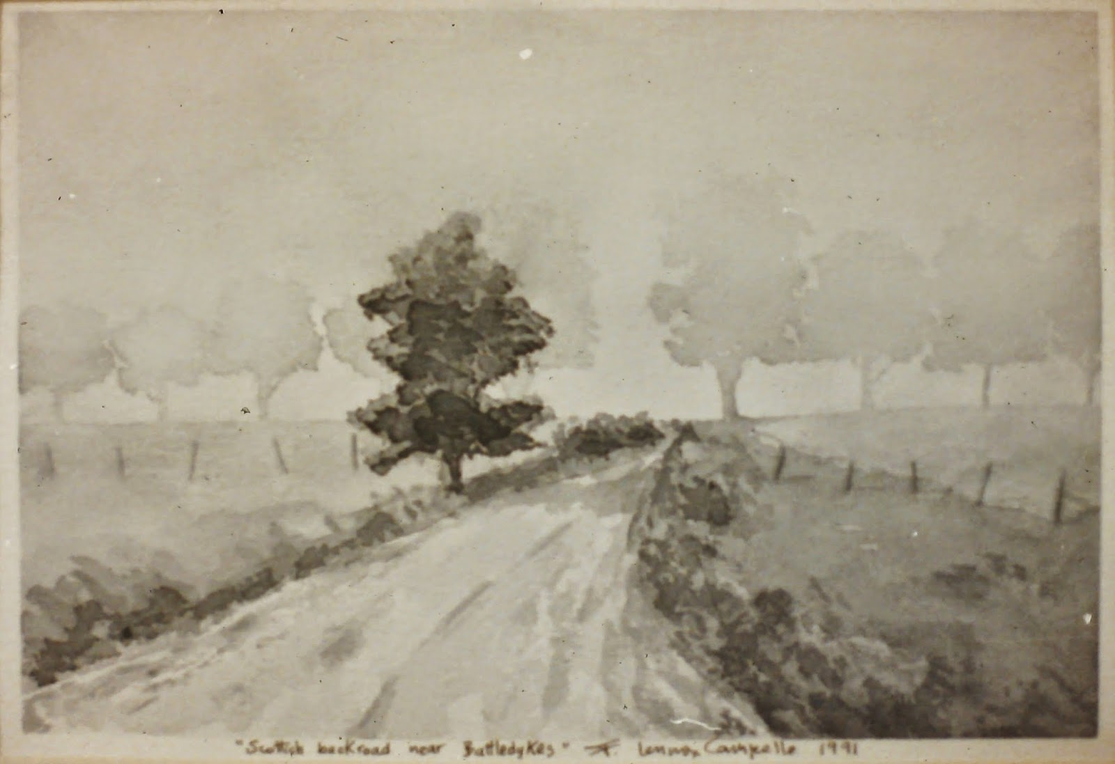 Back road, near Battledykes, Angus, Scotland  8x10 inches. Watercolor on paper, c. 1991.  In a private collection in Aberdeen, Scotland