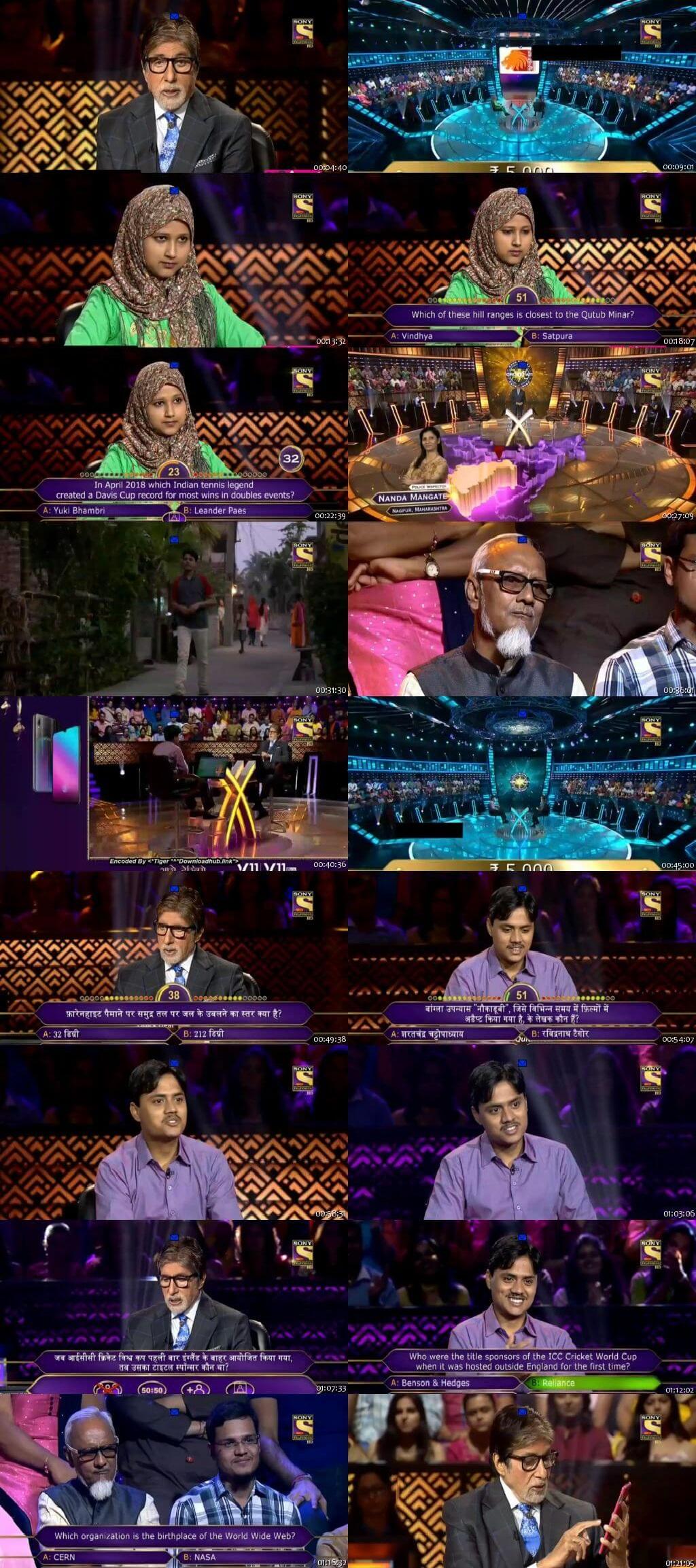 Screenshots Of Hindi Show Kaun Banega Crorepati Season 10 2018 22nd November 300MB 480P HD