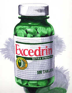 Drawing of an Excedrin bottle