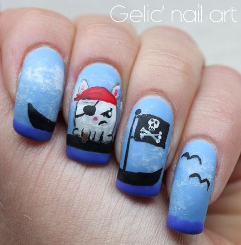 Gelic Nail Art 31dc2015 Day 28 Pirate Bun Emoticon Jolly Roger