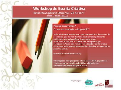 Workshop de Escrita Criativa... ainda há vagas ;)
